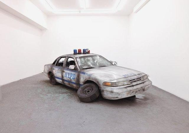 Vahap Avsar: NONEISAFE (2008): Police car, debris. Dimension variable. Images courtesy Charles Bank Gallery, New York.