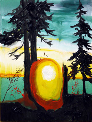 Kim Dorland: Untitled (Yellow, Red, Black Sunset), 2011: Oil on wood panel, 40 x 30 inches. Images courtesy the artist and Galerie Division, Montreal.
