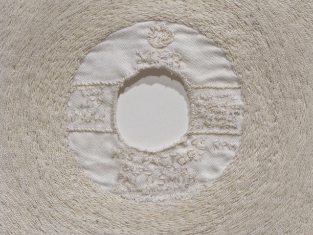 Rose Eken: Piss Factory (detail, 2011): Cotton on silk, 35 x 35 cm. All images courtesy the artist.