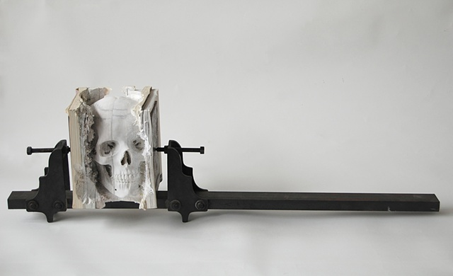 Maskull Lasserre: Incarnate (Three Degrees of Certainty II), 2012: Books, steel, hardware; 40 x 8 x 11 inches. Images courtesy the artist and Pierre-François Ouellette Art Contemporain, Montreal.