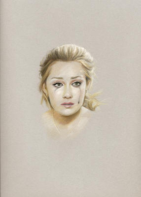 Karin Bubas: Lauren Crying (2009): Chalk pastel on paper, from the series With Friends Like These…