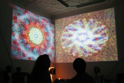 The Sound of Art: A live performance by Art Fag City's Paddy Johnson, and artists Paul Slocum and Lewis Kaye, at Mercer Union, Toronto, August, 2011. Photo: Magenta.