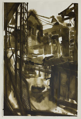 Michael Merrill: Scaffold 3 (2010): ink on paper.