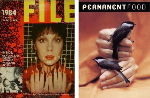 "Left: General Idea: FILE megazine, vol 4, issue 1, summer 1978 (the ""1984: A Year in Pictures"" issue): Edition of 3,000 copies. Right: Maurizio Cattelan: Permanent Food,  vol. 7, 1998. Edition of approximately 3,000 copies."