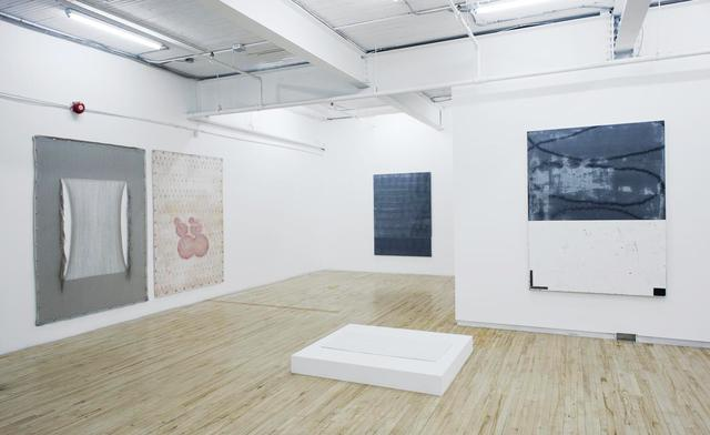 The image in question (installation view, 2013): Left to right: Beth Stuart: work, (Jack Bush), 2012, commercial painter's linen, weft artially removed and warp spranged, gesso, acrylic paint,  gmmets, hanging hardware 211 x 152 cm; Beth Stuart: work, (Varvara Stepanova), 2012, acrylic and water media on canvas, grommets, hanging hardware 211 x 152cm; Jean-François Lauda, untitled, 2012, pigment and acrylic on canvas 183 x 132 cm; Chloé Desjardins: Ailleurs, 2012, plaster, 2 x 60 x 90 cm, edition 1/3; Jean-François Lauda, untitled, 2012, pigment and acrylic on canvas, 183 x 132 cm. Images courtesy Battat Contemporary, Montreal. Photos: Éliane Excoffier.