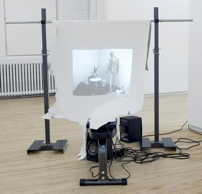 The image in question (installation view, 2013): Julie Favreau: Le froid, le marbre/The cold, the marble, 2010/2013, bench press, cow leather, video, DV-NTSC, 4 min. 39 sec. Videography credits: performer: Laël Stellick, music: Jean-Pierre Gauthier et Mirko Sabatini (Duo Travagliando)