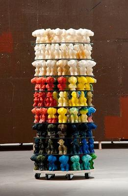 Dieter and Björn Roth: Zuckerturm (Sugar Tower), 1994—2013. Sugar casts, glass, wood. 445 x 96 x 96 cm (175 1/4 x 37 3/4 x 37 3/4 inches).