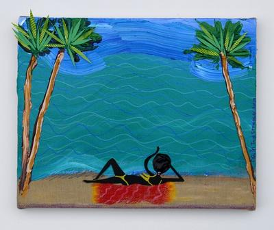 Devin Troy Strother: Oooooh bitch you look soo good in that bikini tho (Pa'Triece on the beach in that yellow fit), 2013. Mixed media, 13 x 16 inches. Courtesy Cooper Cole, Toronto.