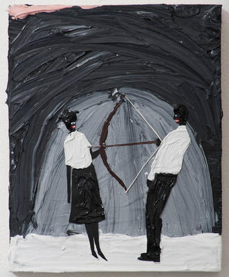 "Devin Troy Strother: A Black Marina Abramovic in ""I'm gonna fuckin' shoot you with this arrow"" (2012). Acrylic, gouache and paper collage on panel. 10 x 8 inches. Courtesy Richard Heller Gallery, Santa Monica."