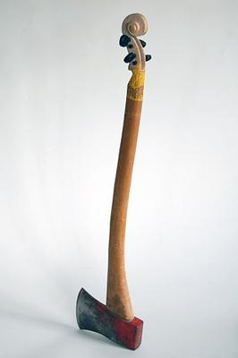 Maskull Lasserre: Second Thought, 2011: Carved axe, ebony; 3 x 7 x 27 inches.
