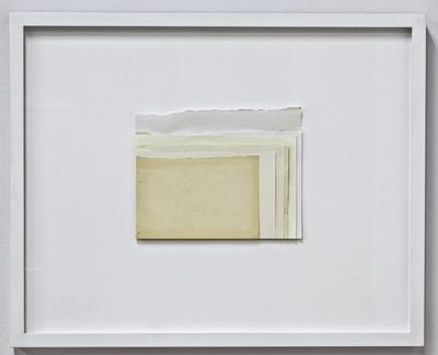 Laurel Woodcock: AEEFLLSVY (2011): 11 flyleaves, stacked and framed.