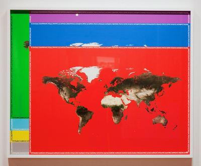 Nestor Kruger: Red Planisphere (2011): Colour pigment print on Japanese kozo paper.